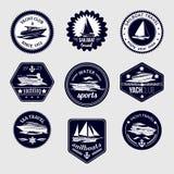 Segelbootreise beschriftet Ikonen eingestellt Lizenzfreie Stockfotos