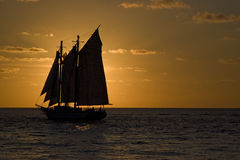 Segelbootschattenbild in Key West bei Sonnenuntergang Lizenzfreie Stockfotografie