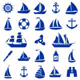 Segelbootsymbolsatz Lizenzfreies Stockfoto