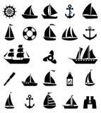 Segelbootsymbolsatz Stockfoto