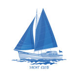 Segelbootvektor-Ikonenblau lizenzfreie abbildung
