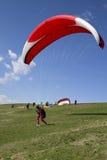 Segelflugzeug, das abwärts für Start läuft Lizenzfreies Stockfoto