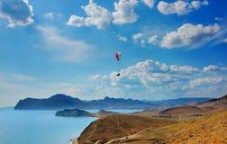 Segelflugzeugpilot in Krim, Russland Lizenzfreie Stockbilder