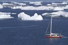 Segeljacht im antarktischen Wasser zwischen Eisbergen Stockfoto
