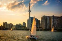 Segeln bei Sonnenuntergang in innerem Hafen Torontos Lizenzfreies Stockfoto