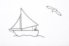 Segeln-Boot und Seemöve auf weißem Hintergrund Stockfoto