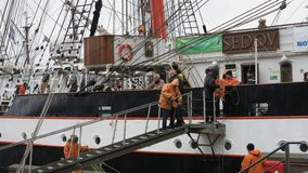 Segeln-Schiff-Sedov schaffen im Hafen Kiel - Kiel-Woche-Ereignis 2013 - Deutschland - Ostsee Stockfotos