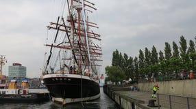 Segeln-Schiff-Sedov stellen Hafen in Kiel - Kiel-Woche her Stockbild