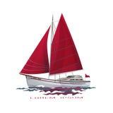 Segelnboot, das auf Wasseroberfläche schwimmt lizenzfreie abbildung