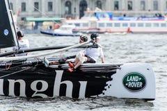 Segelnde Reihen des Extrems 40 laufen 2014 in Russland, St Petersburg stockfotografie