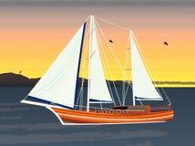 Segelschiff, das auf den Ozean schwimmt Lizenzfreie Stockbilder