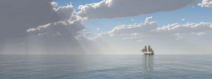 Segelschiff im Abstand vektor abbildung