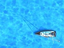 Segelschiff mitten in Ozean, Draufsicht, Sommerhintergrund Lizenzfreie Stockfotos
