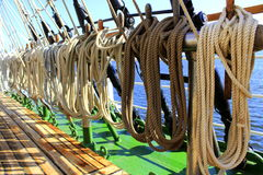 Segelschiff ropes Takelung Lizenzfreie Stockfotos