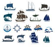 Segelschiff-Schattenbilder und Marine Emblems Stockbilder