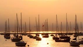 Segelschiffe im Chicago-Sonnenuntergang stock footage