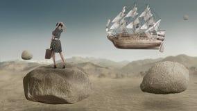 Segelschifffliegen auf der Himmelphantasieschönen kunst Lizenzfreies Stockbild