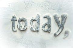 Segeltuch mit weißer grauer Farbe mit dem Wort ` heute ` Stockfotografie
