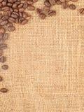 Segeltuch und Kaffeebohnen Stockfoto