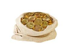 Segeltuchtasche gefüllt mit Münzen. Ein weißer Hintergrund. Lizenzfreies Stockbild
