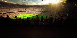 Seger för mästerskap för dag för fotbollarenastadion Blå toning Arkivfoto