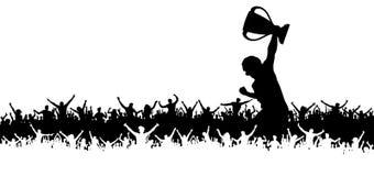Seger i mästerskapkoppen som hurrar folkmassan av sportfans royaltyfri illustrationer