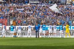 Seger: katrlsruherSC mot Sportfreunde Lotte Fotografering för Bildbyråer