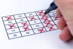 Seger på bingoen vid fullständigt tickade nummer arkivfoton