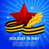 Segerdag på maj 9 kikare fältlock, George Ribbon Arkivfoto
