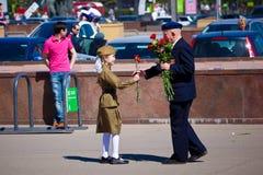 Segerdagberömmar i Moskva Arkivbilder