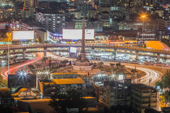 Segermonument, Bangkok på natten Arkivfoton