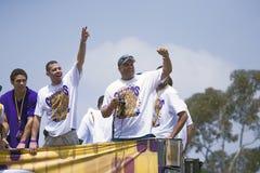 Segern ståtar för mästare för 2009 NBA Arkivbild