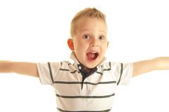 segerrik pojke Arkivfoto