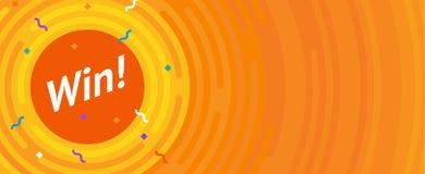 Segertecken Lyckönskansegerbaner Plan vektorsegerillustration Arkivbild