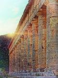 Segesta ancient Temple Italy Backlit. Segesta ancient Temple Sicily Italy Backlit Stock Image
