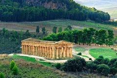 Segesta Temple Sicily Italy wide view. Segesta ancient Temple Sicily Italy wide view Stock Photo