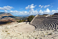 Segesta greek theathre Stock Photos