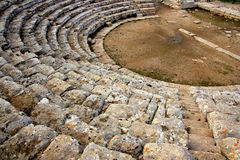 Segesta's Greek theater stone stairs Royalty Free Stock Images