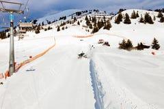 Seggiovia in alpi, Mayerhofen, Austria dello sci Immagine Stock Libera da Diritti