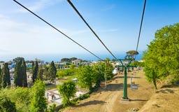 Seggiovia in Anacapri all'isola di Capri, Italia Fotografia Stock Libera da Diritti