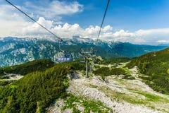 Seggiovia sulla montagna di Vogel in alpi, Slovenia Fotografia Stock Libera da Diritti