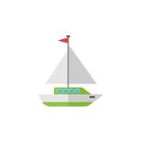 Segla den plana symbolen för yacht, loppturism royaltyfri illustrationer