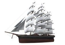 Segla det isolerade skeppet royaltyfria foton