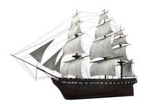 Segla det isolerade skeppet royaltyfri illustrationer