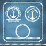 Segla emblem med ankaret stock illustrationer