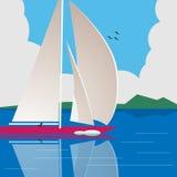 Segla en yacht på lugna vatten stock illustrationer