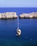 segla för lindos Arkivbild