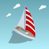 Segla för stilvektor för yacht den isometriska illustrationen stock illustrationer