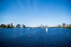 Segla fartyg på Charles River Royaltyfria Foton