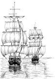 Segla fartyg på det svartvita havet skissar royaltyfri illustrationer